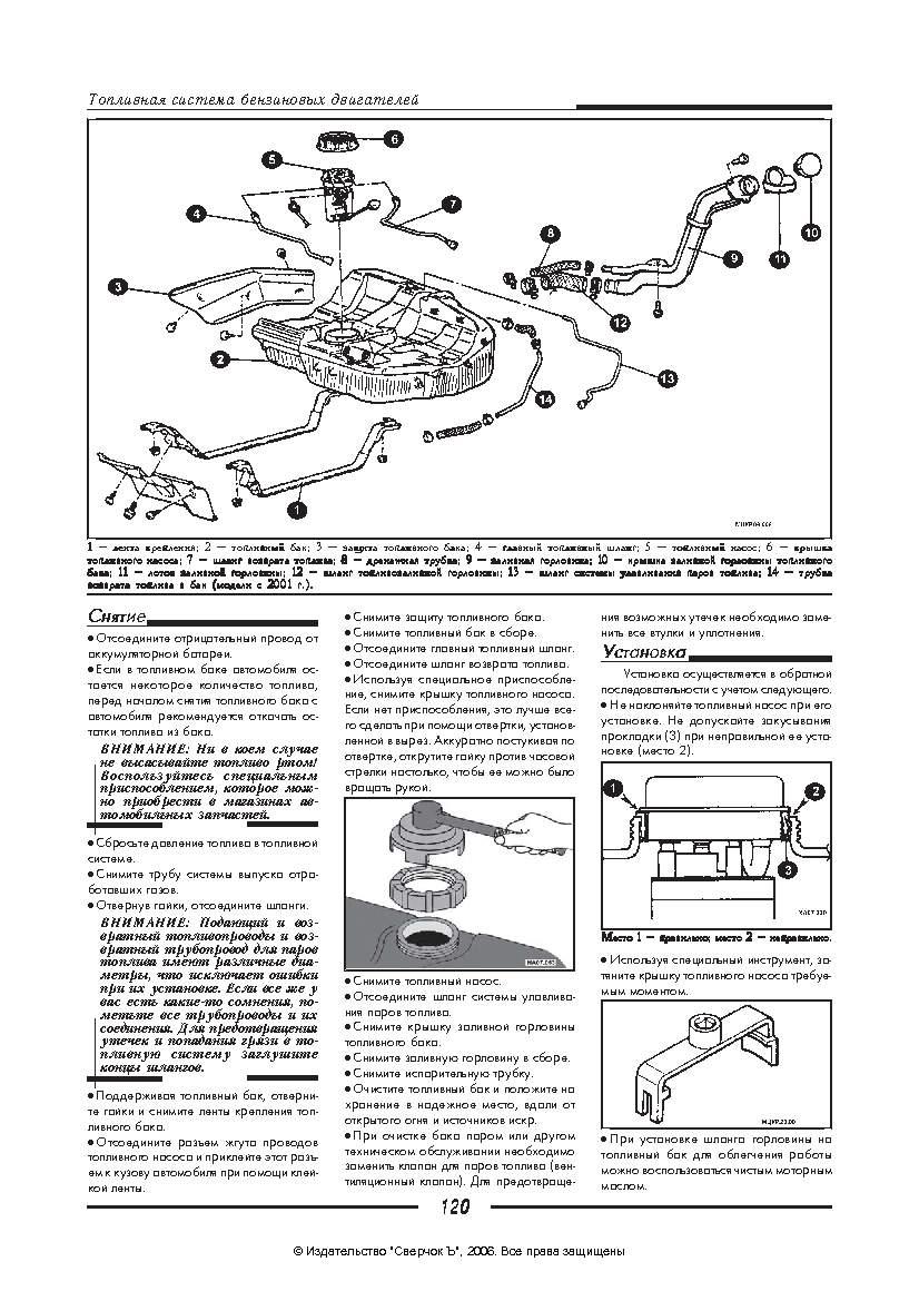 MITSUBISHI CARISMA - снятие топливного бака